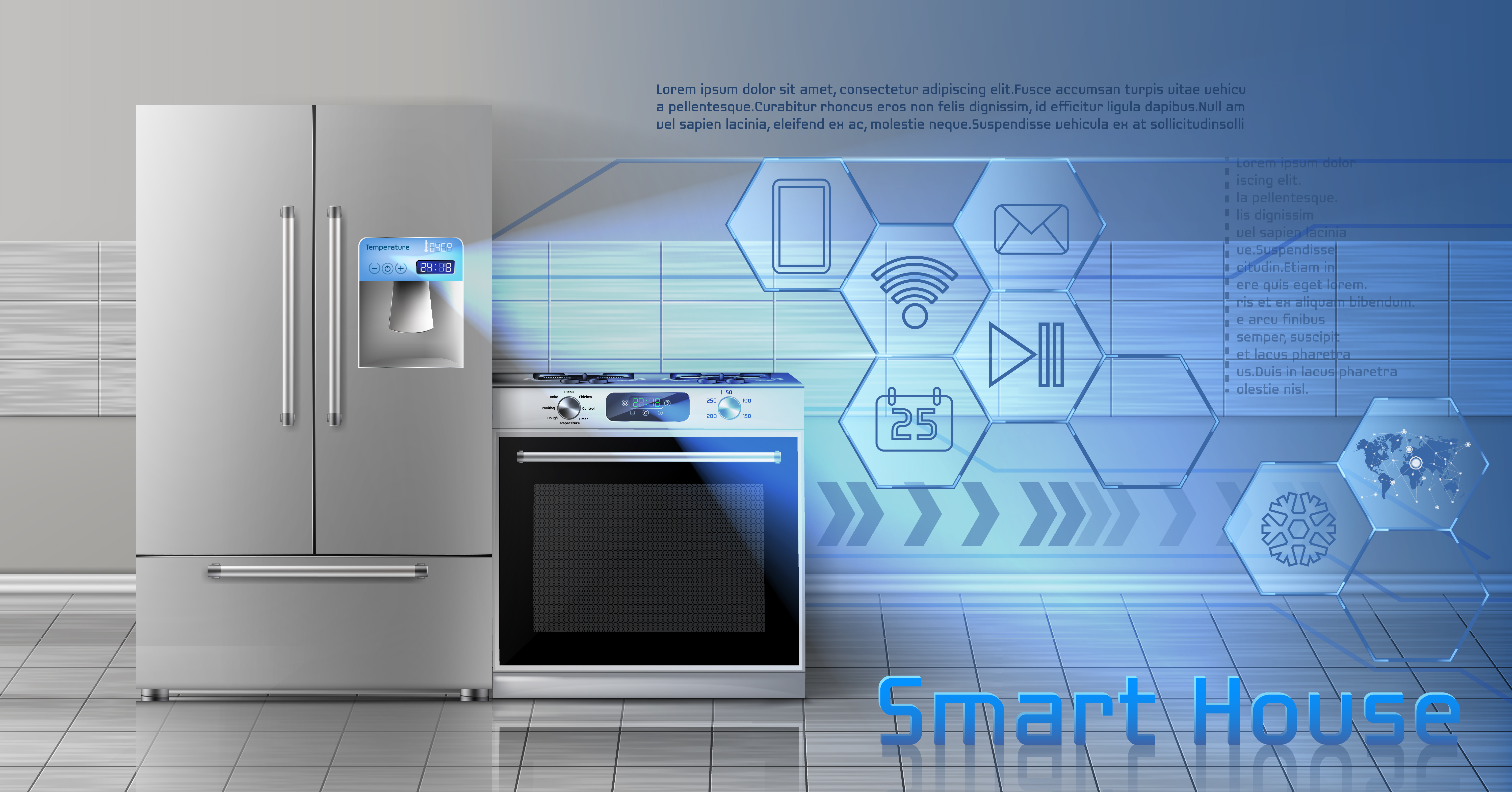 Smart house vector concept background